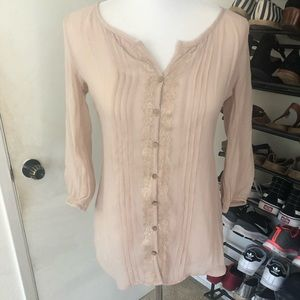 Sheer Lace-trimmed Blouse